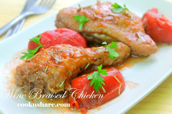 Braised Chicken with Rosemary and Wine Sauce