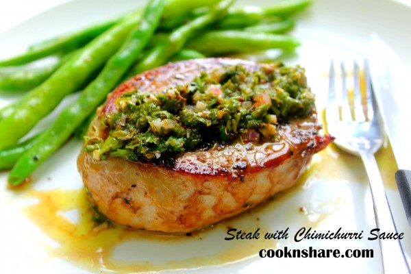Pan Seared Rib Eye with Chimichurri Sauce