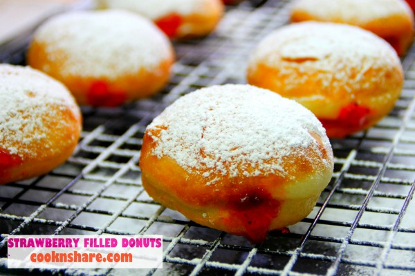 Strawberry Jam Filled Donuts