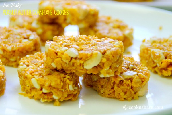 No Bake Peanut Butter Corn Flakes Cookies