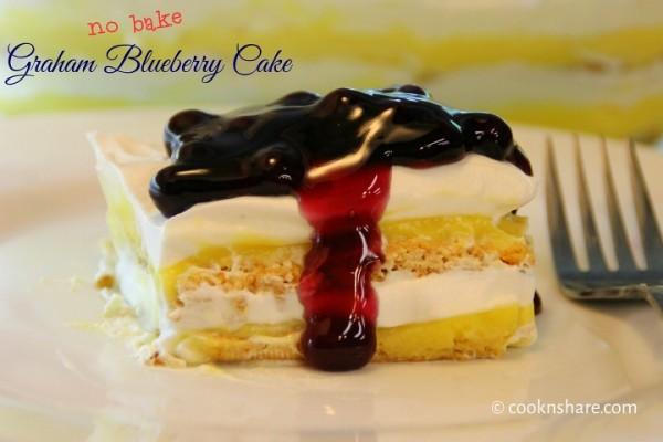 No Bake Graham Blueberry Cake