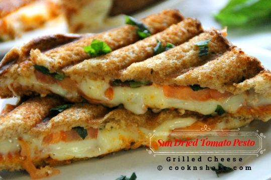 Tomato Basil Pesto Grilled Cheese Sandwich