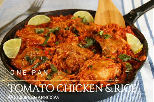 One Pan Tomato Chicken and Rice in 30 Minutes