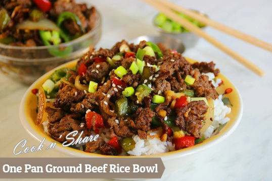 One Pan Ground Beef Rice Bowl