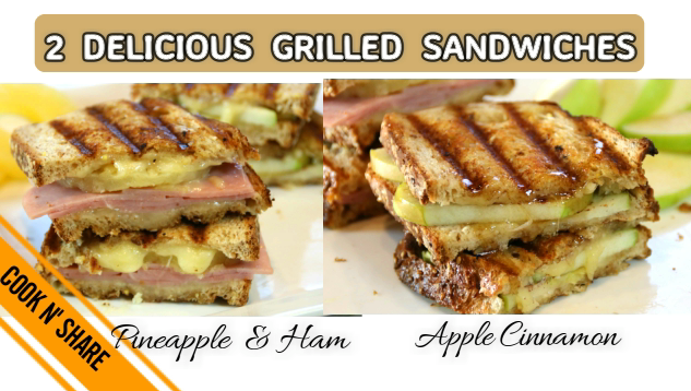 Ham Pineapple and Apple Cinnamon Grilled Cheese Sandwiches