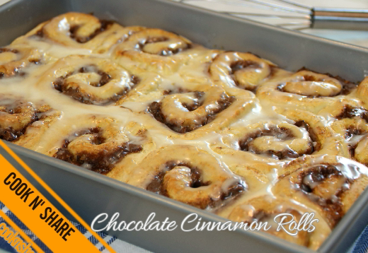 Chocolate Cinnamon Rolls with Glaze