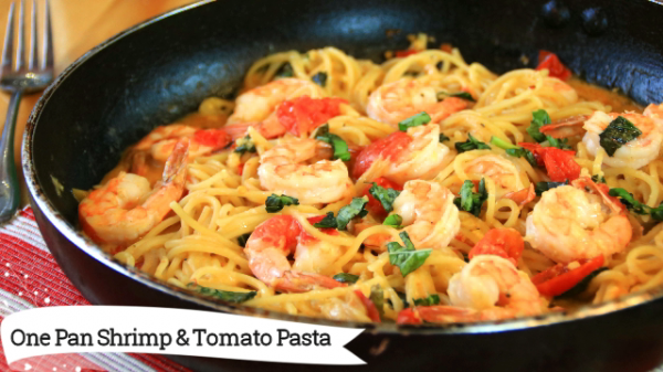One Pan Shrimp and Tomato Pasta