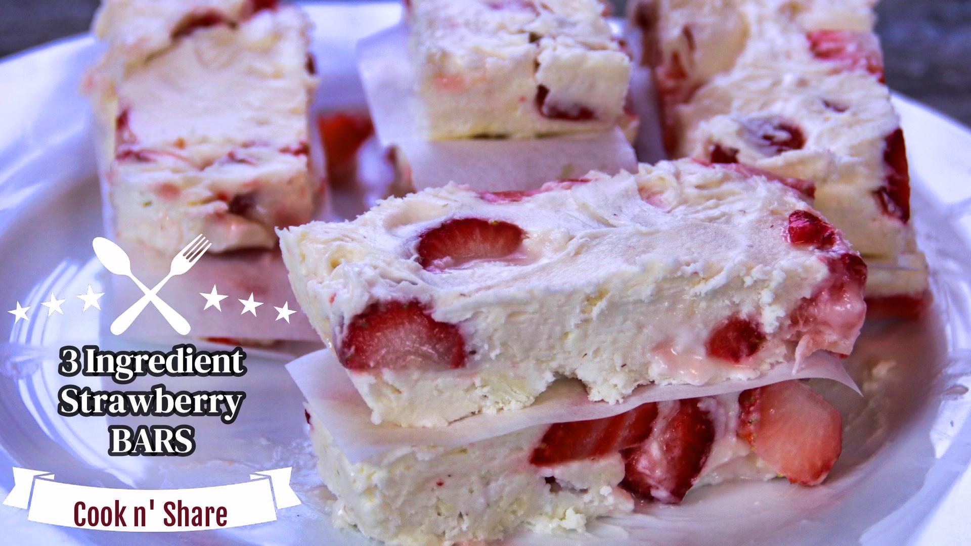 three ingredient strawberry bars