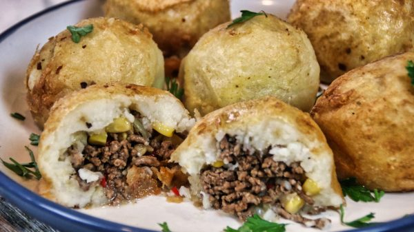 Meaty Stuffed Mashed Potato Balls